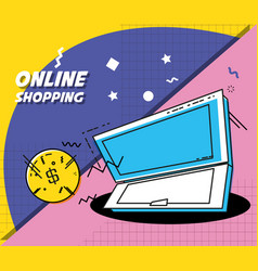 laptop computer with shopping online concept vector image