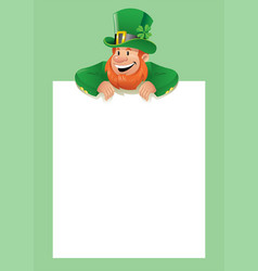 leprechaun with blank white paper vector image