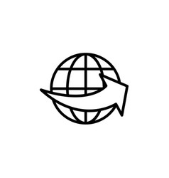 line worldwide shipping on white background vector image