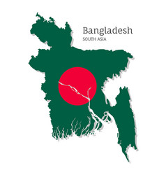 Map bangladesh with national flag vector