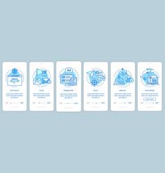 Marketing channels blue onboarding mobile app vector