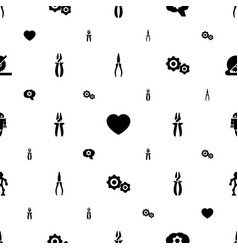 mechanical icons pattern seamless white background vector image
