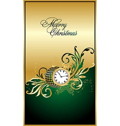 merry christmas green elegant background vector image