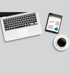 minimal office with computer and a cup of coffee vector image