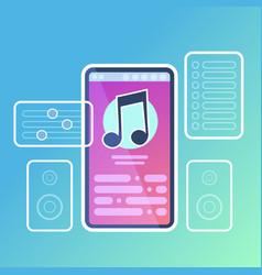 mobile music player application interface audio vector image