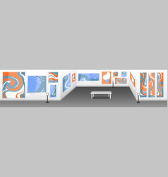 Modern art museum hall with white walls vector