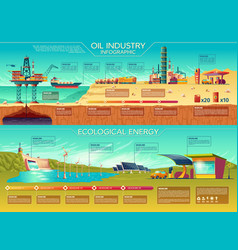 Oil industry ecological energy infographics vector