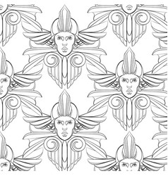 pattern with hand drawn womans vector image