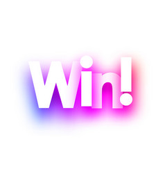 pink win sign on white background vector image