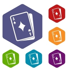 Playing card icons set vector image