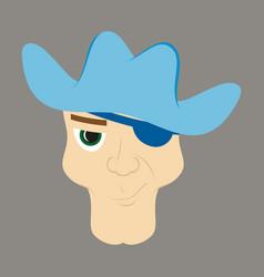 Portrait man in cowboy hat flat vector