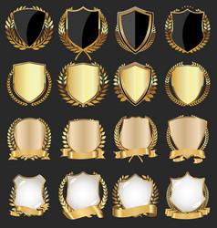 retro vintage golden black and white shields 0582 vector image