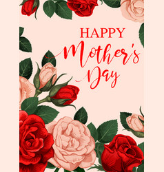 rose flower greeting card of mother day holiday vector image