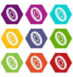 round window frame icons set 9 vector image