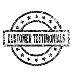 Scratched textured customer testimonials stamp vector
