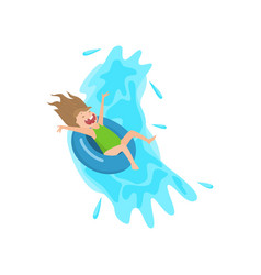Screaming girl flowing down on inflatable rubber vector