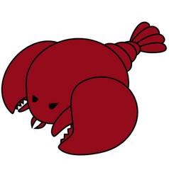 Seafood lobster single red lobster with two claws vector
