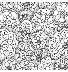 seamless floral pattern hand drawn flowers vector image