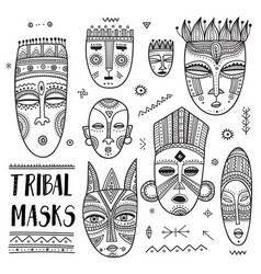 set african ethnic tribal masks with boho vector image