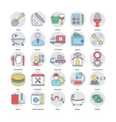 Set home services flat icons vector