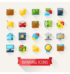 Set of banking icons in flat design style vector