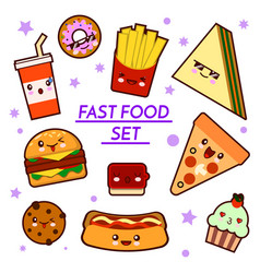 set of funny fast food characters - pizza french vector image