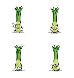 set of leek character cartoon vector image