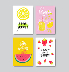 Set summer fruits badge isolated typographic vector