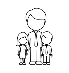 silhouette man with his children icon vector image