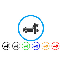 smoking taxi driver rounded icon vector image