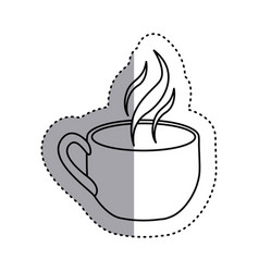 sticker silhouette cup coffee with smoke vector image