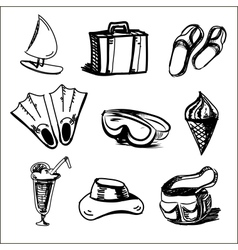 Summer holidays objects collection vector image