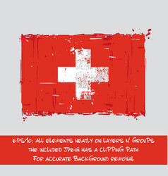 Swiss flag flat - artistic brush strokes and vector