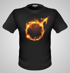 t shirts Black Fire Print man 02 vector image