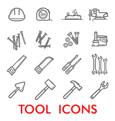 thin line icons of repair work tools vector image