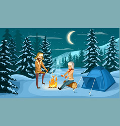 Tourist camp in winter forest vector