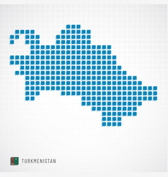 turkmenistan map and flag icon vector image
