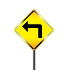 Turn left traffic sign vector