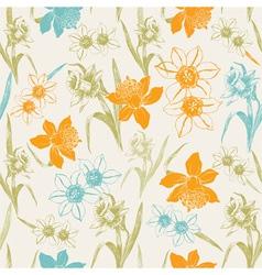 Vintage daffodil Flowers pattern vector image
