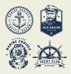 Vintage monochrome sea and marine labels vector