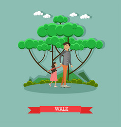 Walk with daughter concept in vector