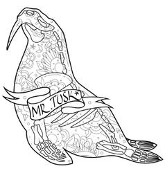 Walrus skeleton vector