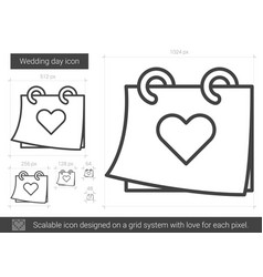 Wedding day line icon vector