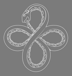 White contour coiled serpent ouroboros on grey vector