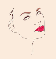 Woman face with red lips vector