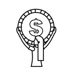 woman holding big coin money vector image