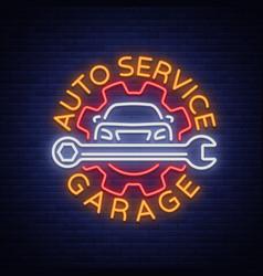 auto service repair logo in neon style neon sign vector image vector image