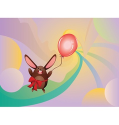Chocolate Bunny with Balloon2 vector image vector image