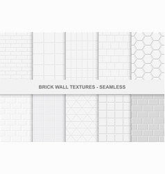 collection of seamless brick wall textures vector image vector image
