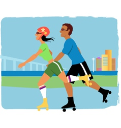 Couple roller skating vector image